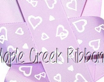 "1-1/2"" Lavender Grosgrain Ribbon with White Hearts 1-1/2"" x 1 yard"