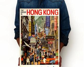 "The Orient is Hong Kong Jet Boac Vintage Poster Art Print Posters, Dorm Decor, Minimalist Art, Vintage Advertising Poster 13"" x 19"""