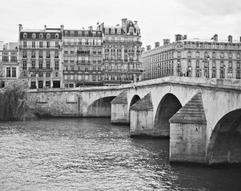 Paris France Photography, Seine River Photography, Black White Architecture, Paris Travel Photography, 8x10 Photo Print