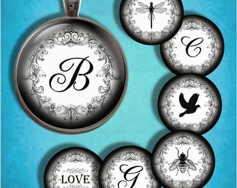 Vintage Wreath -Black and White- Initials and Images - Two Inch Round Digital Collage Sheet for Pendants, Magnets, Bottle Caps, Paper Crafts