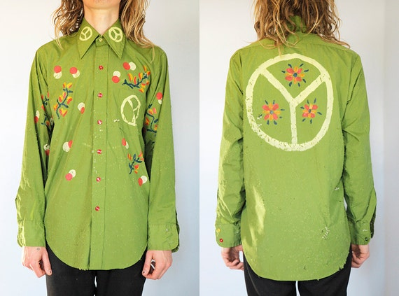 Shot with Bullets. Vintage 70's Handpainted Green Peace Sign Buttondown. Size Medium.