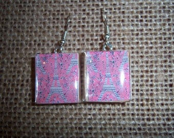 Paris Eiffel Tower Scrabble Tile Earrings