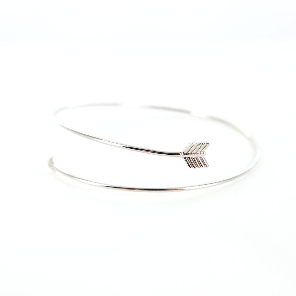 silver delicate arrow bangle bracelet by potterandbrass on