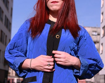 Vintage 80s // blue quilted women's jacket with gold buttons // elegant // light // large size