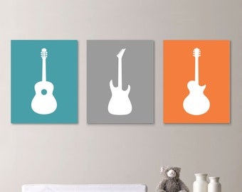 Baby Boy Nursery Art Print - Guitar Nursery Art - Boy Nursery Decor - Rock and Roll Art - Guitar Nursery. Guitar Decor. Canvas (NS-662)
