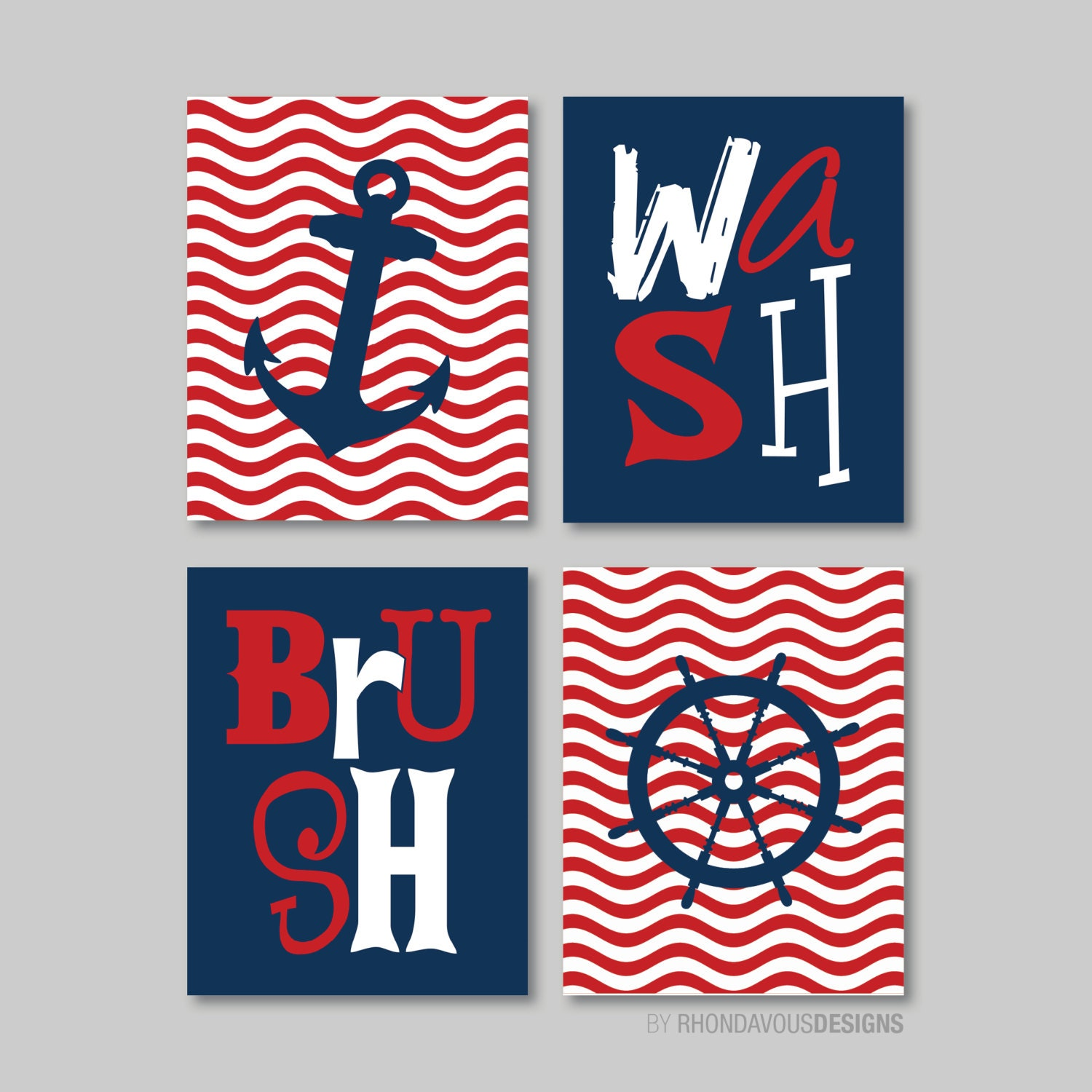 Nautical bathroom print art bathroom decor bathroom art for Navy and white bathroom accessories