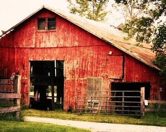 Red Barn 1 Rustic Home Decor Indiana Landscape Decor Country Living Wall Art Fine Art Photography