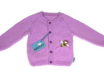 """Hand made unique baby girl """"lavender field"""" cardigan in size 104; 2,5-3 years old"""
