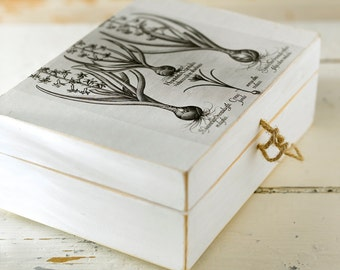 painted wooden box cover decoupage