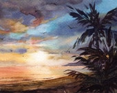 "Evening in Paradise - ORIGINAL WATERCOLOR - Painting by Linda Henry - Miniature Watercolor - 5""x7"" - Ready to Frame - Free Mat (#355)"
