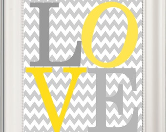 LOVE Nursery Art Yellow and Grey , Gender Neutral,  Baby Shower, New Baby