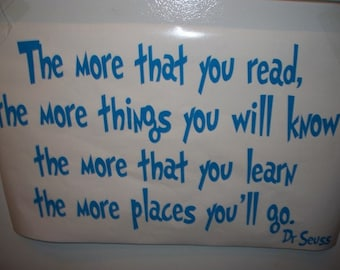 Dr Seuss wall decal The more that you read  quote wall words vinyl lettering quote DYI