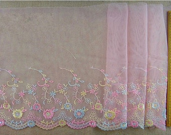 2 yards Lace trim Cute Pink Embroidered Lace Trim DIY Handmade Accessory 7.87 inches wide.E1195