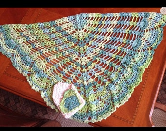 Crocheted Capelet and Envelope--Variegated Green