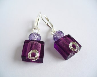Purple Crystal Earrings, Purple Dangle Earrings, Sterling Silver Earrings, Purple Bridesmaid Earrings, Purple Earrings