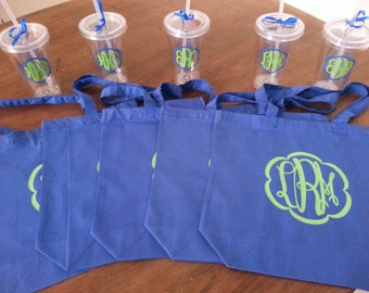 Monogrammed Bridesmaids Gifts - Set of 5 Tote Bags and 5 Tumblers
