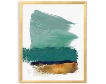 Teal Green Gold Abstract PRINTABLE Wal Art, Teal Green, Faux Gold Foil, Teal Green, Turquoise Abstract Brushstroke Art