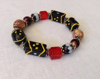 Beaded Bracelet, Large Beads with Elastic