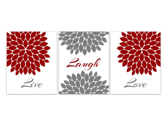 Red Love Wall Decor : Home decor wall art live laugh love red grey