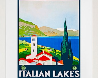 Italy Travel Art Print Italian Lakes Vintage Home Decor Poster (ZT146)