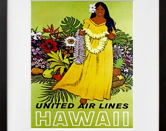 Hawaii Travel Poster Hawaiian Decor Wall Art Print (ZT274)