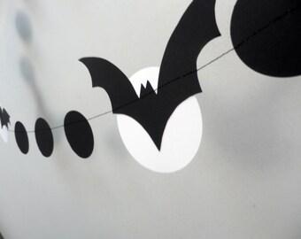 Halloween Garland, Bat Garland, White and black Halloween Garland