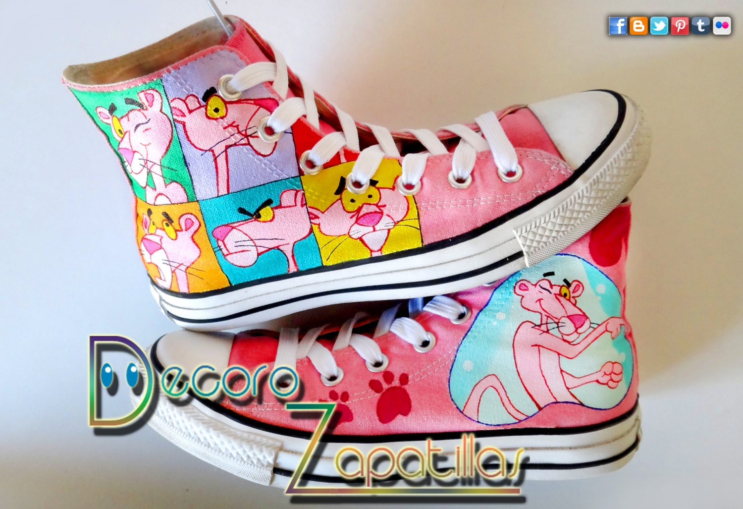 pink panther custom canvas shoes high tops low by