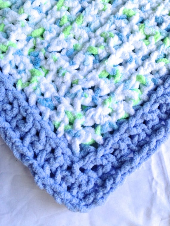 Baby Blanket Super Soft and Fuzzy White with Blue Trim