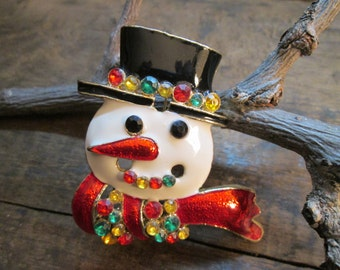 vintage gold tone heavy multi-colored enamel and rhinestone snowman brooch