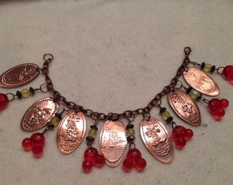 Disney inspired pressed penny bracelet
