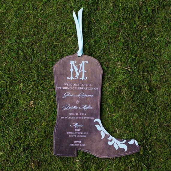 Boot Wedding Programs (Qty. 100)