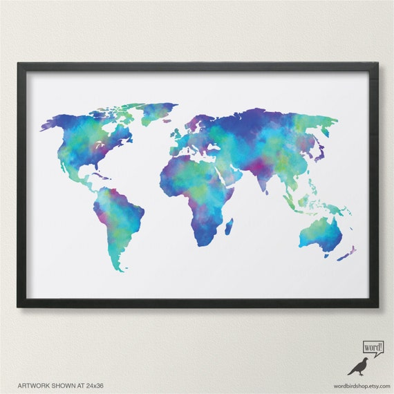 Watercolor map of the world in navy blue indigo teal cobalt like this item gumiabroncs Image collections