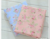 "Shabby Chic Floral 100% Cotton Twill Fabric  Rose Printing Tilda Cloth 160cm / 63"" Wide 2 Color to Choose From (1 meter)"