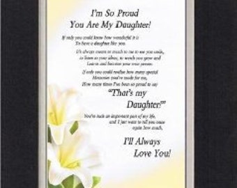 Items Similar To Beautiful Framed Daughter Poem Gift On Etsy