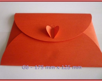 10 Red heart Love knot Envelopes 3D dimensions