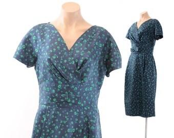 Vintage 50s Silk Wiggle Dress Short Sleeves Navy Blue Green Floral Womens  Fashion 1950s Medium M Large L