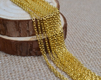 16ft of 3x2mm Round Link Gold Cable Chain,Iron Cross Chain,Small Gold Chains,Oval Link Twisted Gold Chains-Unsoldered,Nickel and Lead Free