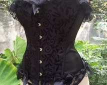 New Black Ladies Sexy Burlesque Overbust Corset Lace Up Back Tummy Cincher