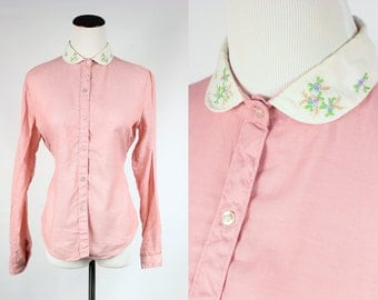 Dusty Rose Embroidered Peter Pan Collar Button-up Blouse