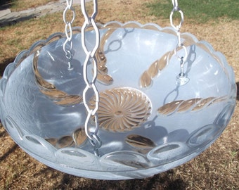SALE! Beautiful Vintage Glass Lampshade Bird Feeder, Bird Bath, Garden Gift