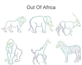 Out Of Africa Animals Outline Machine Embroidery Designs Instant Download 4x4 5x5 6x6 hoop 10 designs APE2048
