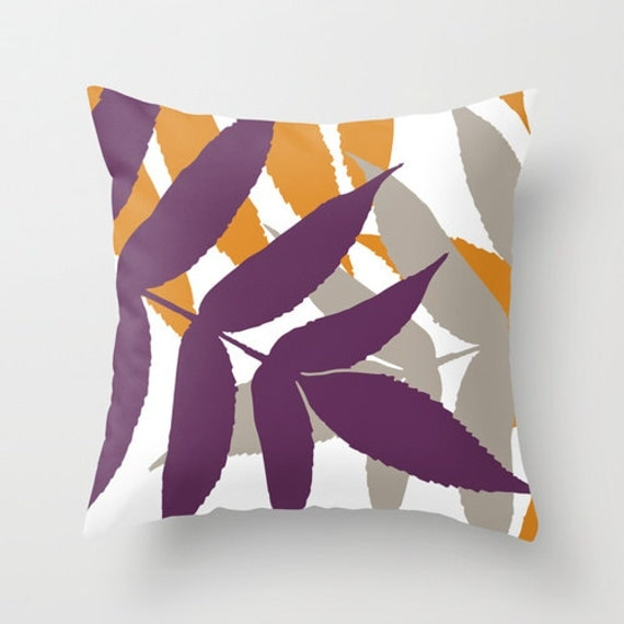 Modern Botanical Pillow : Modern Botanical Leaf Pillow Cover Eggplant Purple Orange