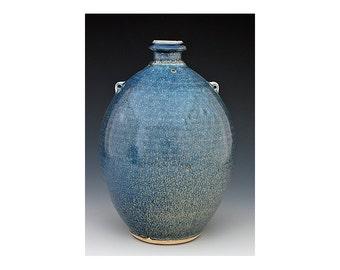 Pottery Vase, Blue Crystalline Glaze, Handmade, Stoneware, Ready to Ship, Wedding Gift