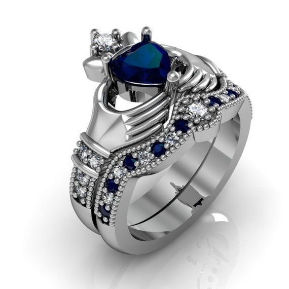 Sapphire And Diamond Claddagh Ring