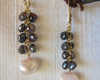 Pink and Grey Pearl 14K Gold Filled Handmade Earrings