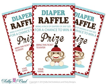 Boy Sock Monkey Diaper Raffle Tickets Printable for Baby Boy Shower DIY Red Blue Retro - ONLY digital file - oz33bs7