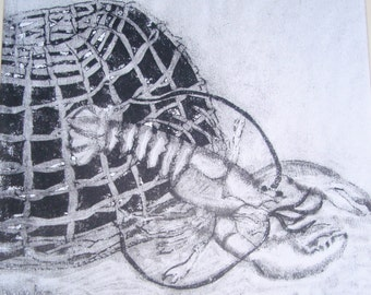 Lobster and Cage Intaglio Print