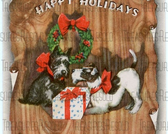 Retro Terrier Scottie Dogs Christmas Card #163 Digital Download