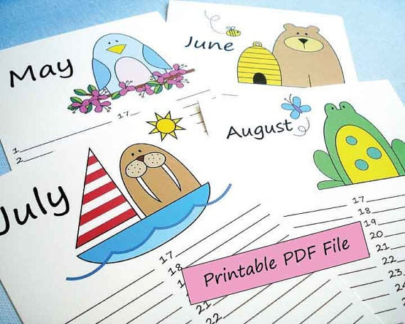 Diy Birthday Calendar Template : Diy printable perpetual birthday calendar pdf