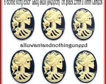 6 Unset Goth Punk Halloween Ivory Color Lady Skull Cameo on Black 25mm x18mm Goth Emo Skeleton Day of Dead Cabachons Costume Jewelry